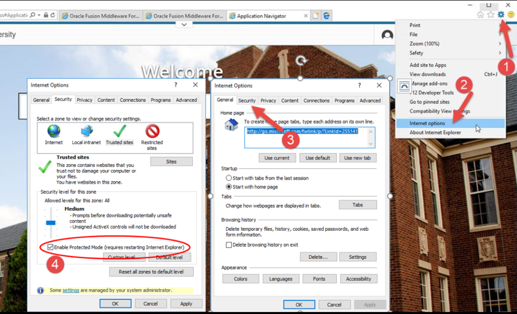 This image shows a method for solving Banner 9 Access issues in Internet Explorer.